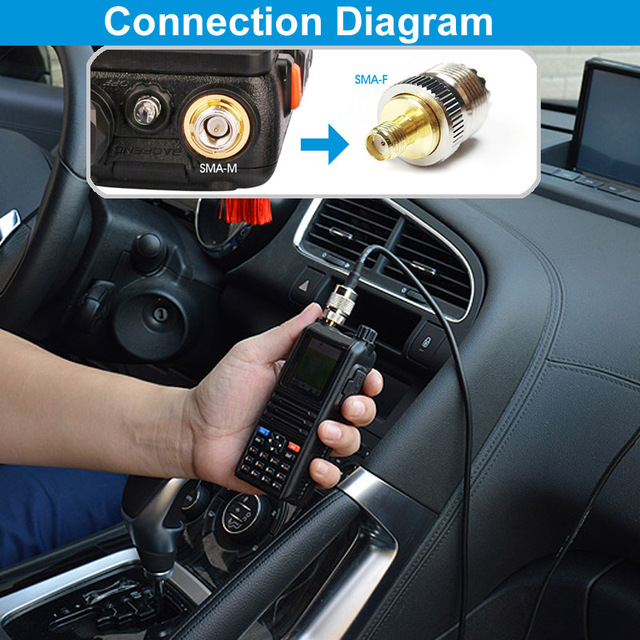 Walkie Talkie Car Radio Dual Band VHF UHF Antenna PL259 5M Coaxial Cable Magnetic Mount Base and SMA-F SMA-M BNC Connector 6