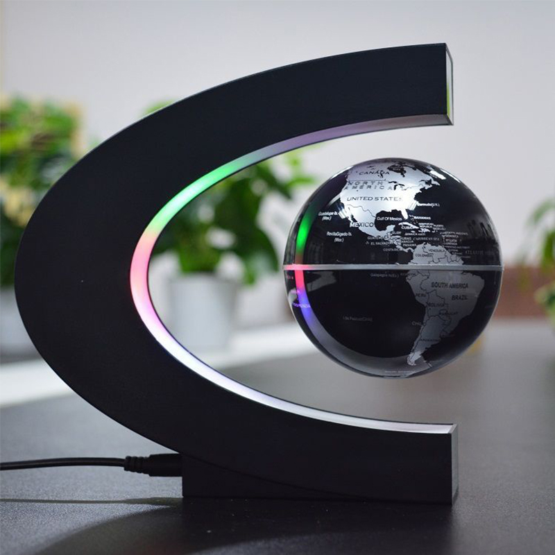 Anime C shape Magnetic Levitation Floating Globe World Map Kids Toys ellurion LED Light EU US