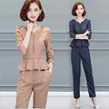 Ladies Trouser Suit for Work New 2017 Fashion Elegant Striped Ruffle Formal Office Womens Business Suits with Pencil Pants Femme