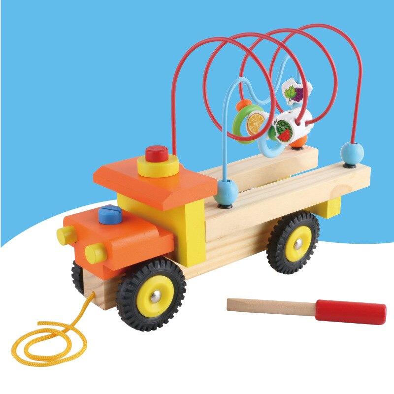 Vis détachable tracteur en bois bébé jouet multifonctionnel Fruit rond perle préscolaire jouets éducatifs pour enfants
