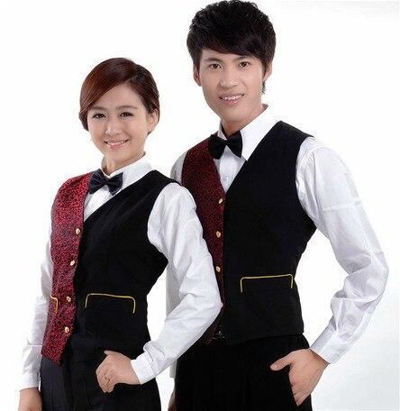 Мода женщина мужчина КТВ жилет Ресторан бармен жилеты униформа для певица танцор звезда ночной клуб производительность черный серебристый