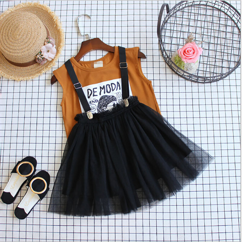 Ladies Garments Set Summer time Brown Sleeveless Shirt & General 2 pcs Youngsters Clothes Set Style Children Lady Outfits Garments Cute Set Clothes Units, Low-cost Clothes Units, Ladies Garments...