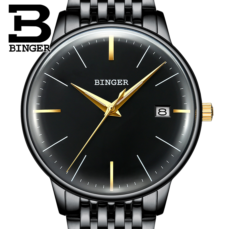 Cool Black Stainless Steel Watches Men Simple Mechanical Watch Self Winding Calendar Wrist watch Personalized 2.5D Curved Glass Mechanical Watches     - title=