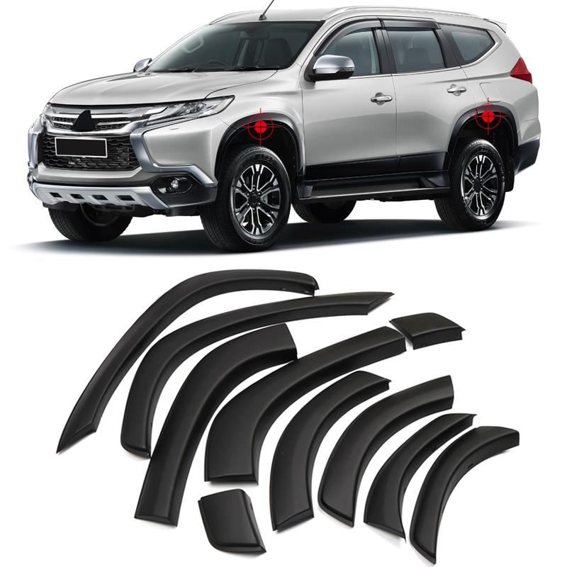 For Mitsubishi Pajero Montero Shogun Sport 2016 2017 2018 Plastic Car Fender Flares Arch Wheel Eyebrow Auto Wheel Lip Cover Trim