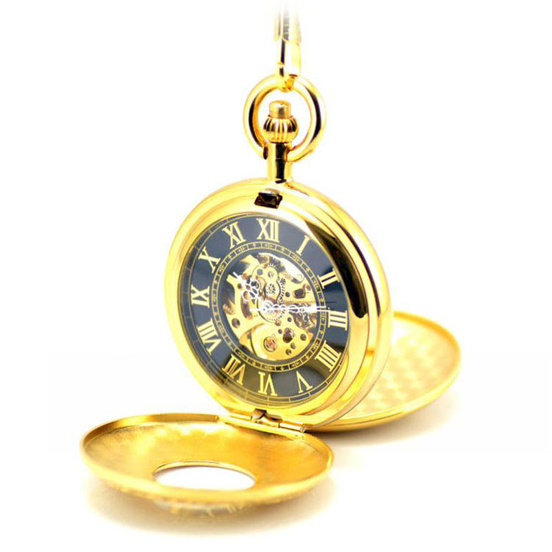 Luxury Skeleton Gold Automatic Mechanical Pocket Watch Men Vintage Hand Wind Clock Necklace Pocket & Fob Watches Clock Pendant 10pcs lot vintage bronze roman numbers open face pocket watch mechanical automatic self wind with 30 cm chain fob watches