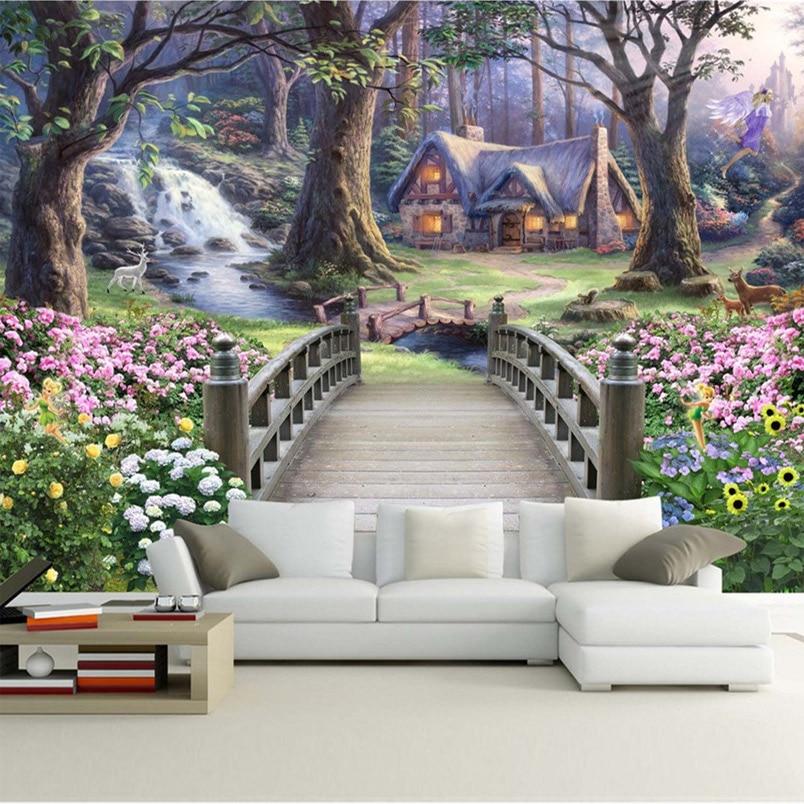 Modern Wallpaper European Fantasy World Forest Garden Custom Photo Wall Paper Murals Kids Room Background Mural Wall Paper