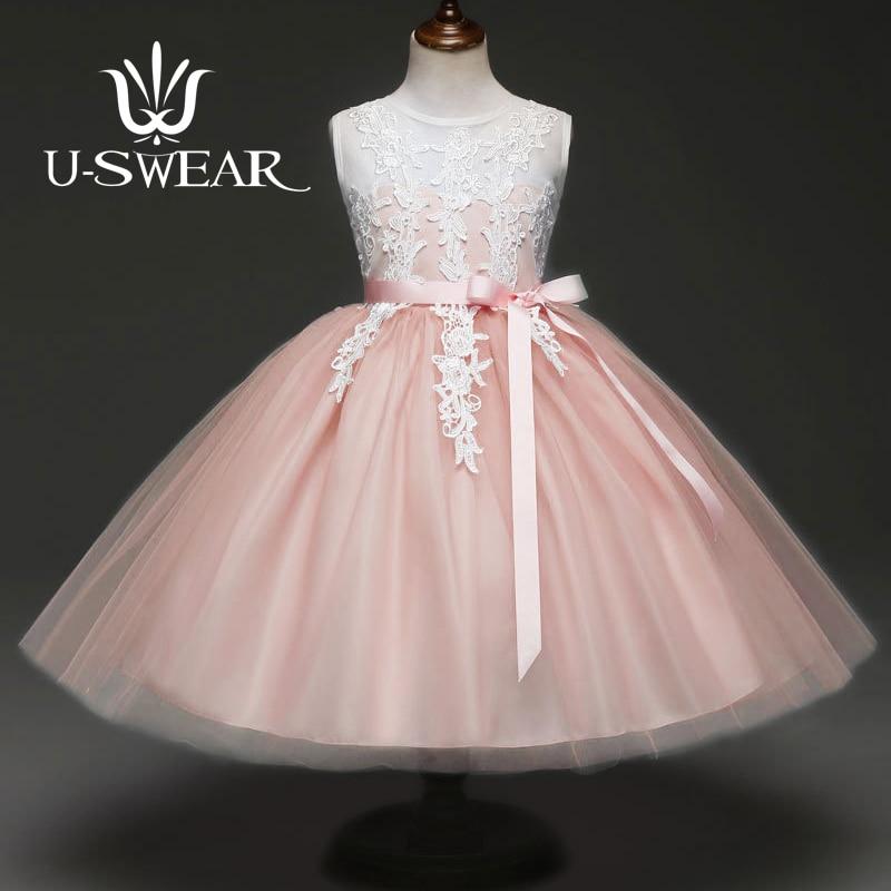 U-SWEAR 2019 New Arrival Kids Flower Girl Dresses Flora Embroidery Sleeveless Chiffon Girls Ball Gown Communion Dresses Vestidos