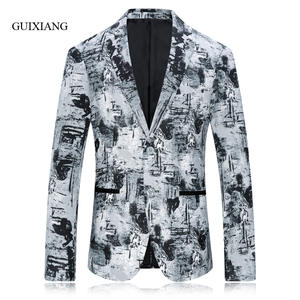 Men Jacket Coat Blazers Single-Button Slim Colors-Pattern Winter-Style Fashion New-Arrival