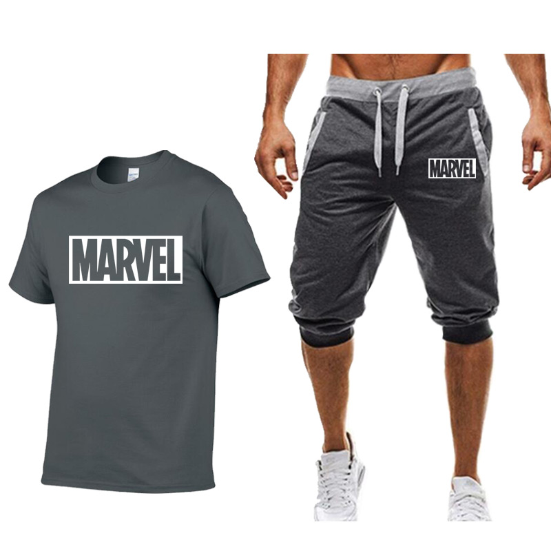 2019 MARVEL cotton   T     Shirts  +Shorts men sets Brand clothing Two pieces tracksuit Fashion Casual Tshirts Workout Fitness   T  -  shirt