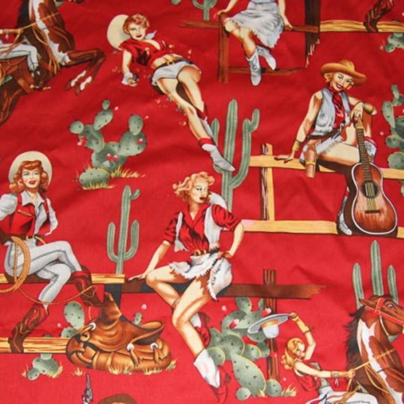 BZ32 100*130 Centimetri 3 Colori Della Ragazza Occidentale Stampato Retro Vintage Euramerican Stile Twill di Cotone Tessuto Popeline per Il donne Del Pannello Esterno Del Vestito