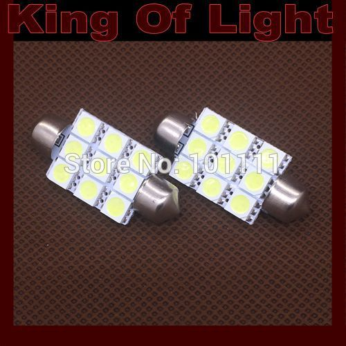 10x High quality car led stying lighting C5W 9SMD Festoon 41mm 9 LEDS SMD 5050 Reading lights Free shipping
