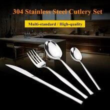 KTL 24 Pcs/set Silver Dinnerware Flatware Set 304 Stainless Steel Dinner 6 Knife 6 Fork and 6 Spoon 6 Teaspoon Cutlery Set