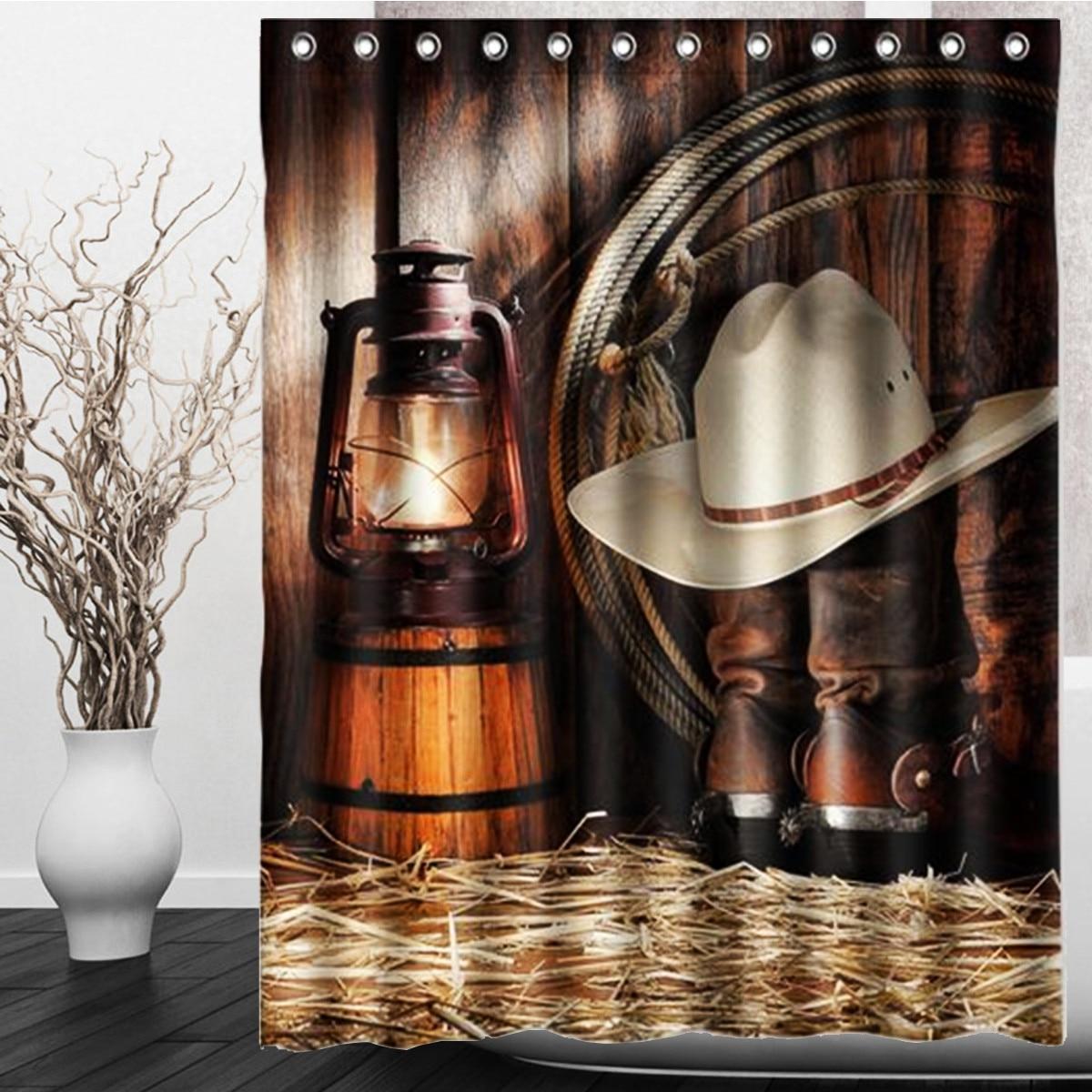 Vintage vaquero occidental impermeable cortinas de ducha sombrero botas patrón para cuarto de baño Casa Decor cortina con ganchos