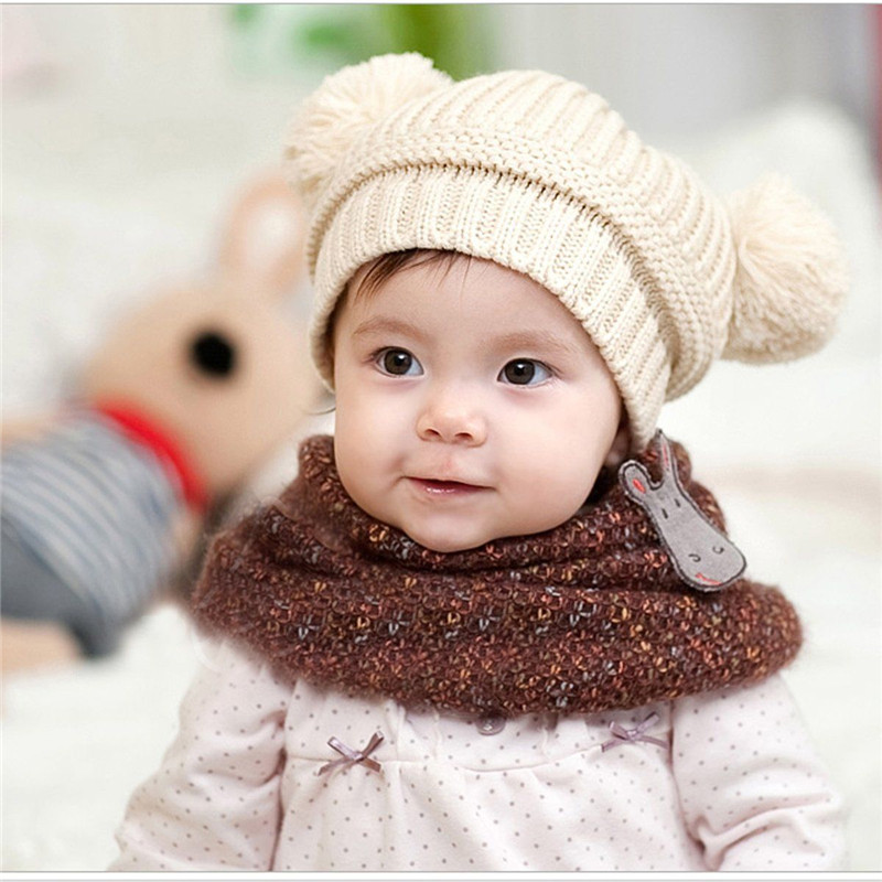 Lovely Baby Knitted   Skullies     Beanies   Casual Solid Color Trendy Winter Baby   Beanie   Hat Cap Warm Cute Toddler Kids Knitted