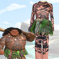 American Superhero Muscle Clothing Princess Moana Cosplay Costume Adult Full Set With Maui Halloween Adult Cos