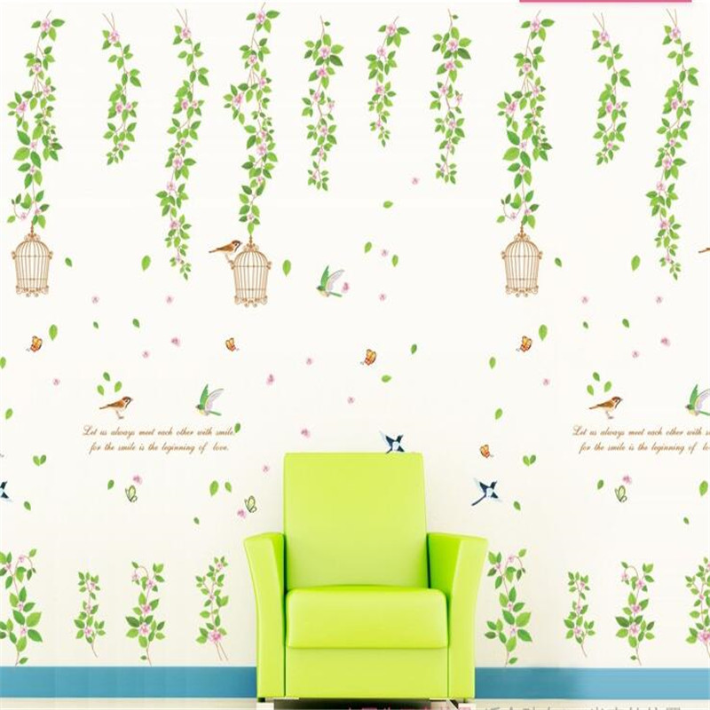 Birdcage wall stickers bedroom living room ceiling decoration home ...