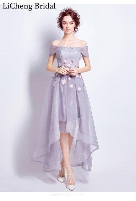 Real image floral applique flower lace bridemaid dress short front long train dress for wedding  party robe demoiselle d'honneur