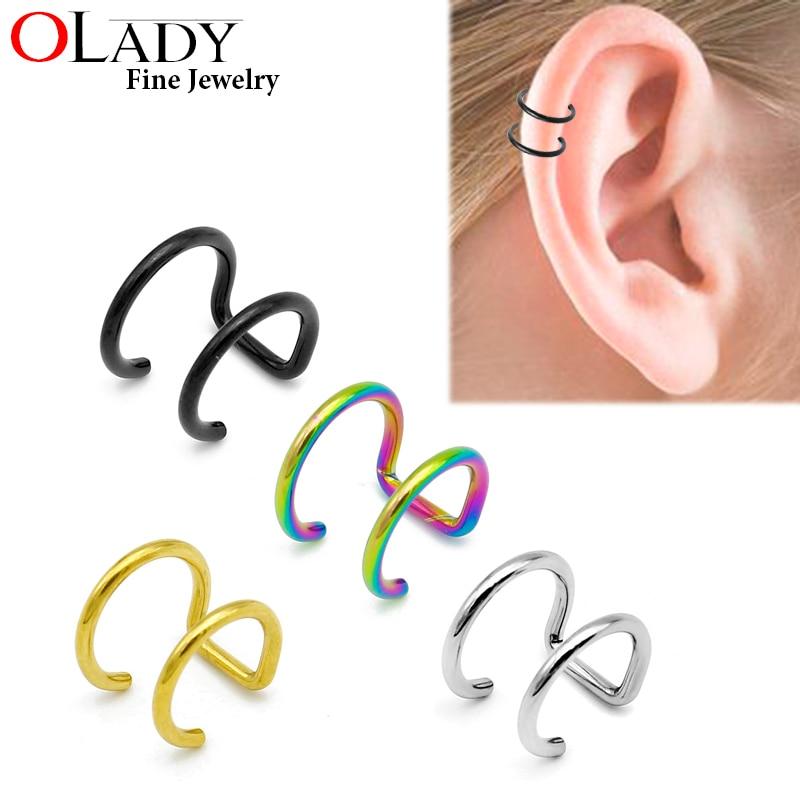 16G 316L Stainless Steel 2 Rings Ear Cuff Clip Women Men Fake Piercing Dilatations False ear piercing body jewelry
