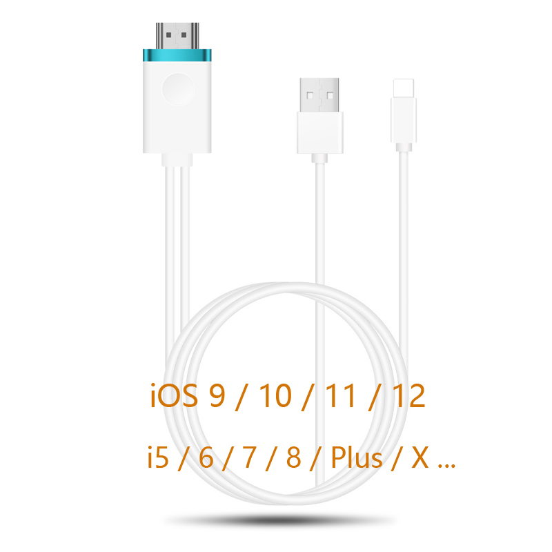 iOS 11 8 Pin to HDMI TV Projector AV Cable Video Adapter Link Lead for iPhone X 7 8 Plus 6S 6 5S 5 for iPad w/ USB Charging Cord