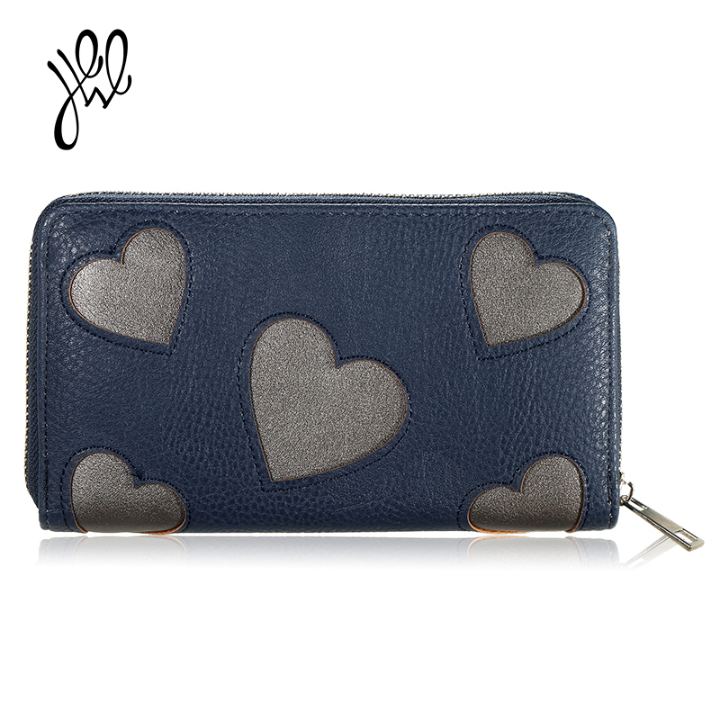 Fashion Preppy Style Women Wallet Leather Long Lady Purse Money Wallet Candy Heart Pattern Wallets Coin Pocket Purse Sale 500556 pomelos hot sale women wallets soft polish pu leather long ladies purse with coin pocket fashion female tri folds money wallet