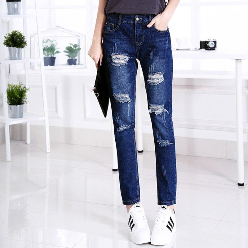 2016 new American apparel women jeans ripped jeans for women plus size jeans woman denim pantalon