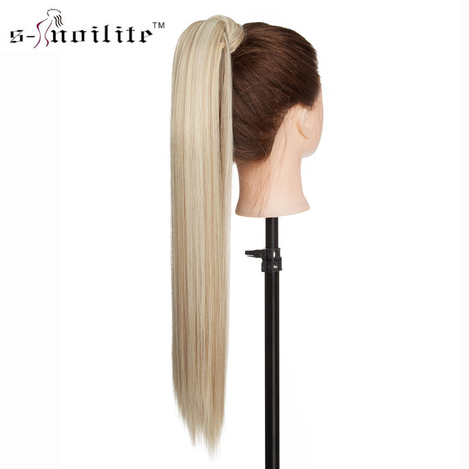 SNOILITE Long Straight Clip In Hair Tail False Hair Ponytail Hairpiece With Hairpins Synthetic Hair Pony Tail Hair Extension
