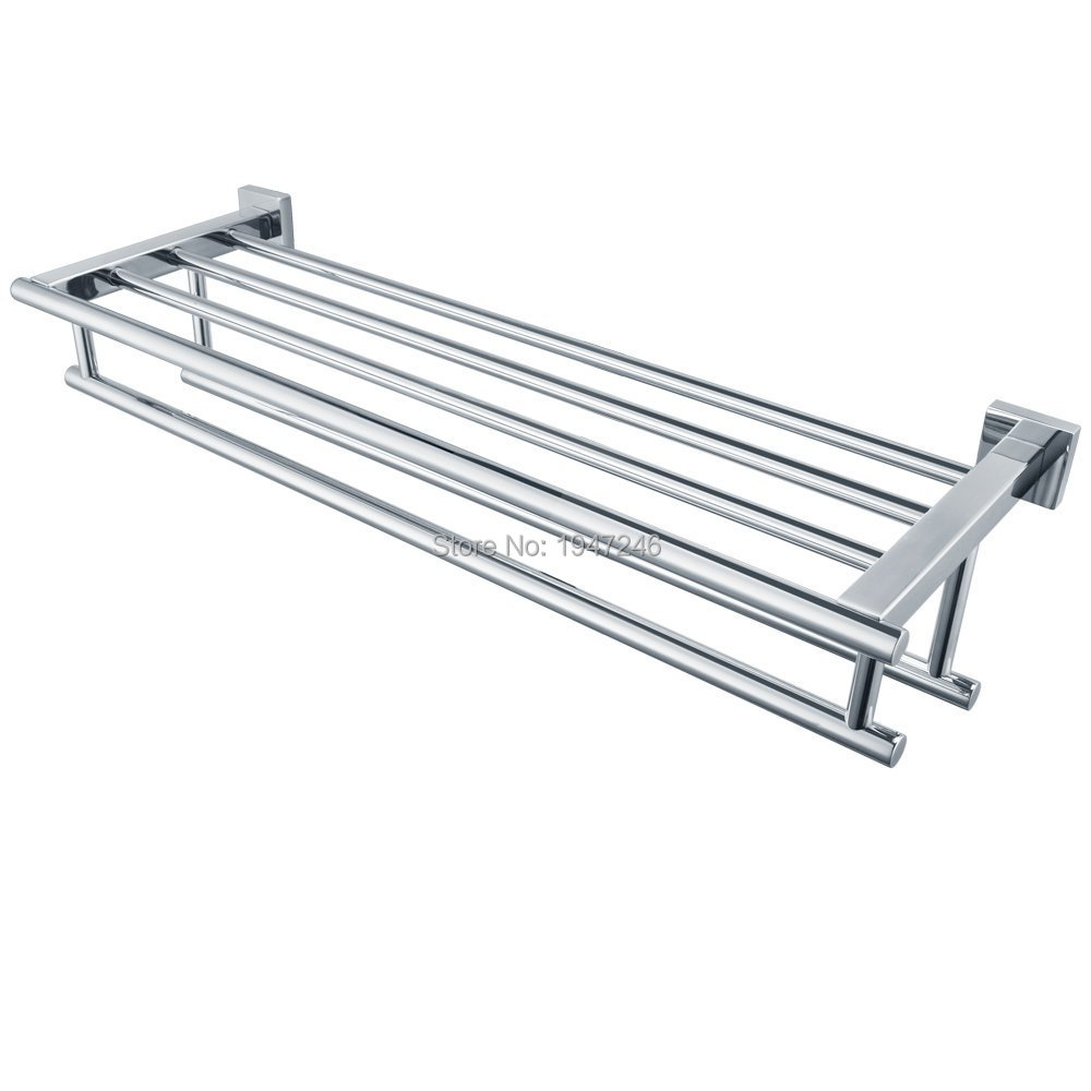 High Quality Promotions Gloss Silver Chrome Stainless Steel Wall Mounted  Bathroom Towel Rail Holder Storage Rack Shelf Bar