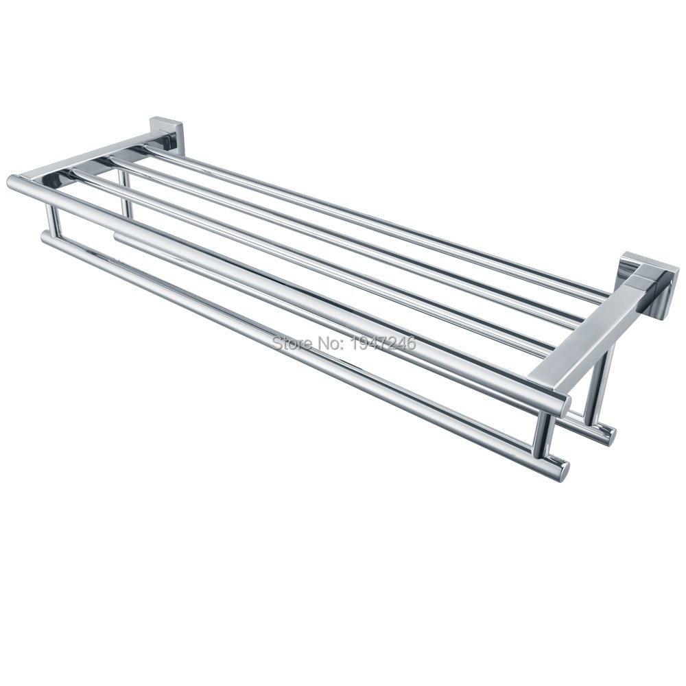 High Quality Promotions Gloss Silver Chrome Stainless Steel Wall Mounted  Bathroom Towel Rail Holder Storage Rack Shelf Bar