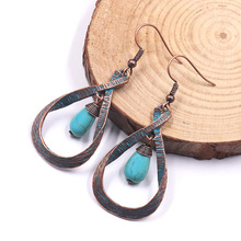 Women Bohemian Earrings Statement Jewelry Exaggerated Antique Green Metal Water Drop For