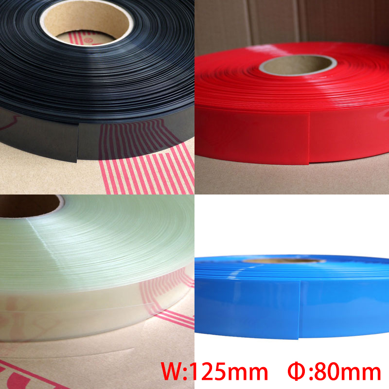 2M Red White 125mm Width 80mm Dia Battery Pack DIY Insulation Protective Casing PVC Heat Shrink Tubing Shrinkable Tube