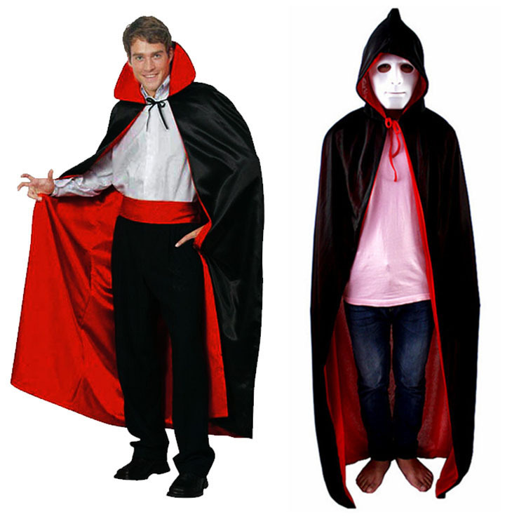 Halloween dekoration kostym klädsel trollkarl häxa Cosplay Anime kläder Hooded Fancy Cape Vampire Masquerade Double Wear