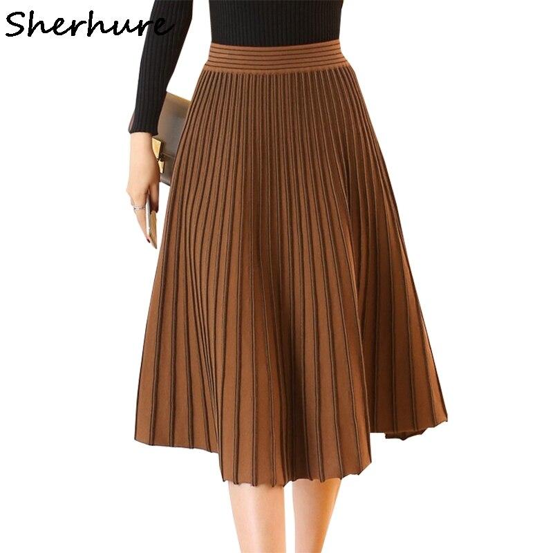 2019 Autumn Women Skirts High Waist Knitting Thick Pleated Skirt Women Skirt Faldas Jupe Femme Winter Women Brown Skirt Saia