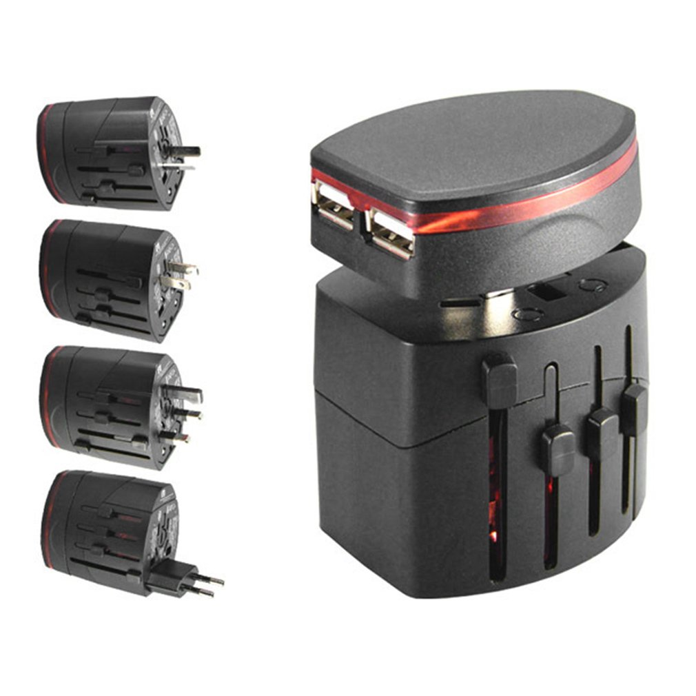 International Universal Worldwide Travel Charger Power Adapter Wall Conversion Electric Converter US/AU/UK/EU Plug Dual USB