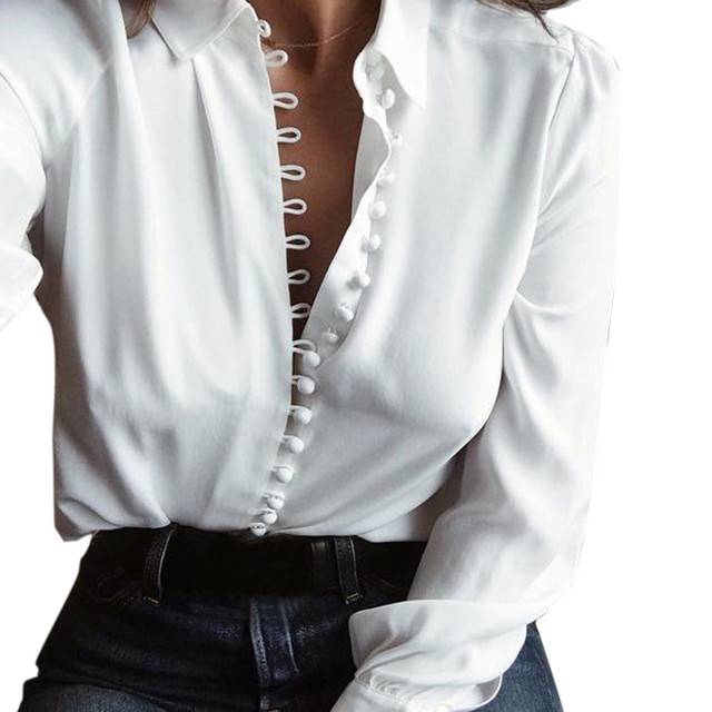 ee790794d5bc US $6.6 12% OFF Women Casual Solid Long Sleeves Blouse Lapel Shirt blusas  mujer de moda 2017 ropa camisetas mujer white lace blouse plus size-in ...