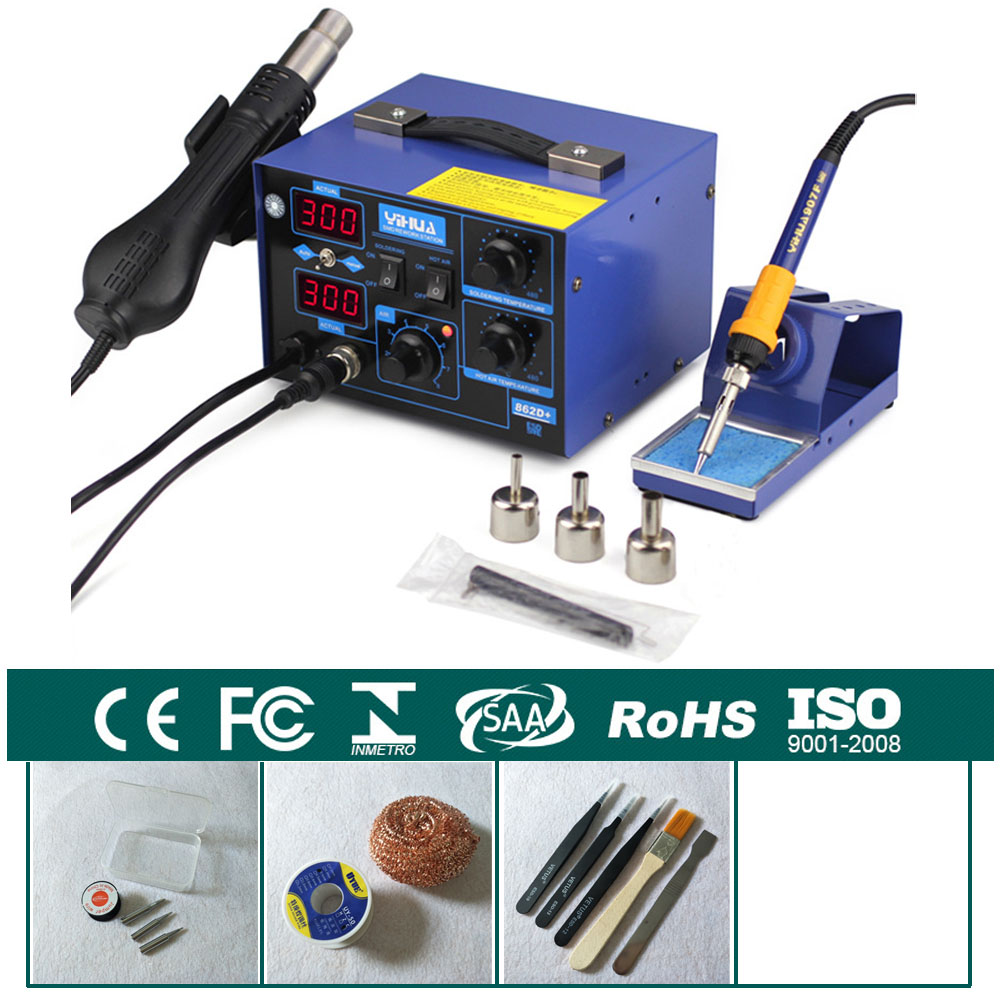 цена на 720W Constant Temperature Antistatic Solder Station Soldering Iron + Hot Air Gun Welding Desoldering Repair YIHUA 862D+