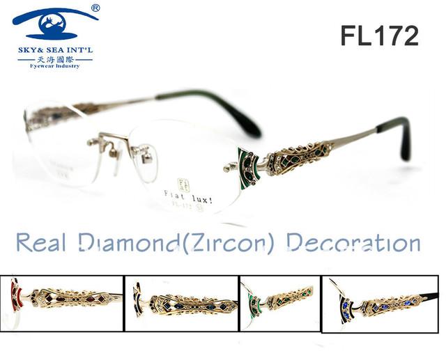 """Envío gratis en más rápido Original de la marca """" Fiat Lux """" con """" Zircon """" Rinestone Titan mujeres gafas de diamante sin montura marcos miopía"""