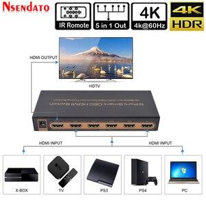 Image 5 - 5 Port akıllı CEC HDMI zamanlama anahtarı 4K 60Hz 18 Gbps 5x1 HDR HDMI adaptörü Switcher IR uzaktan için Dolby DTS HD LPCM HDTV PS4