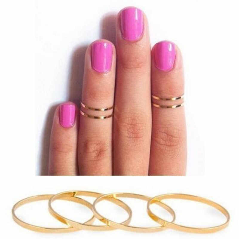 hot fashion new punk common short thin alloy finger ring diameter gold and silver color, wholesale free shipping