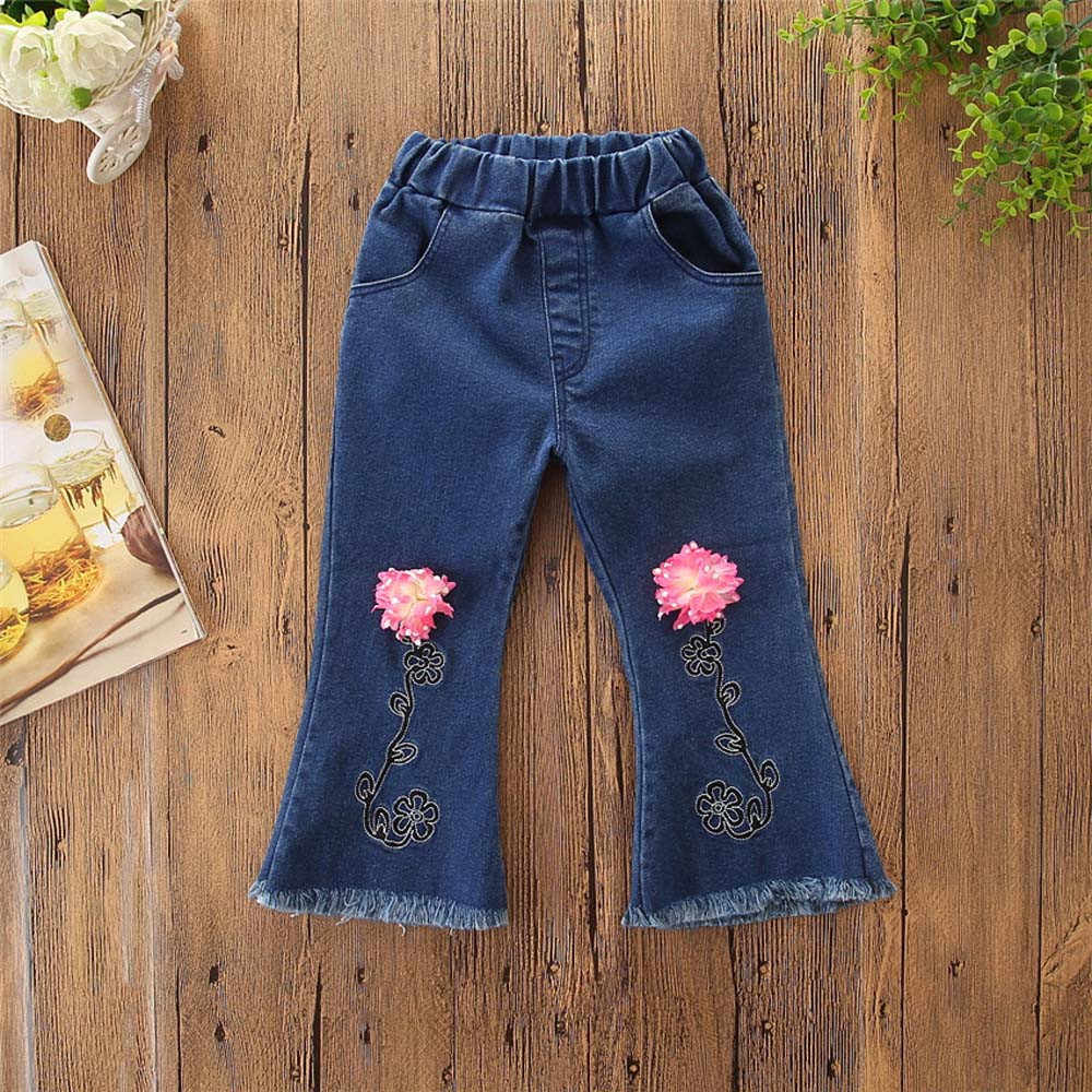 884ebe2ca ... MUQGEW baby girl jeans Children Toddler Kids Baby Girls Floral Flare Pants  Denim Clothes Jeans Pants ...