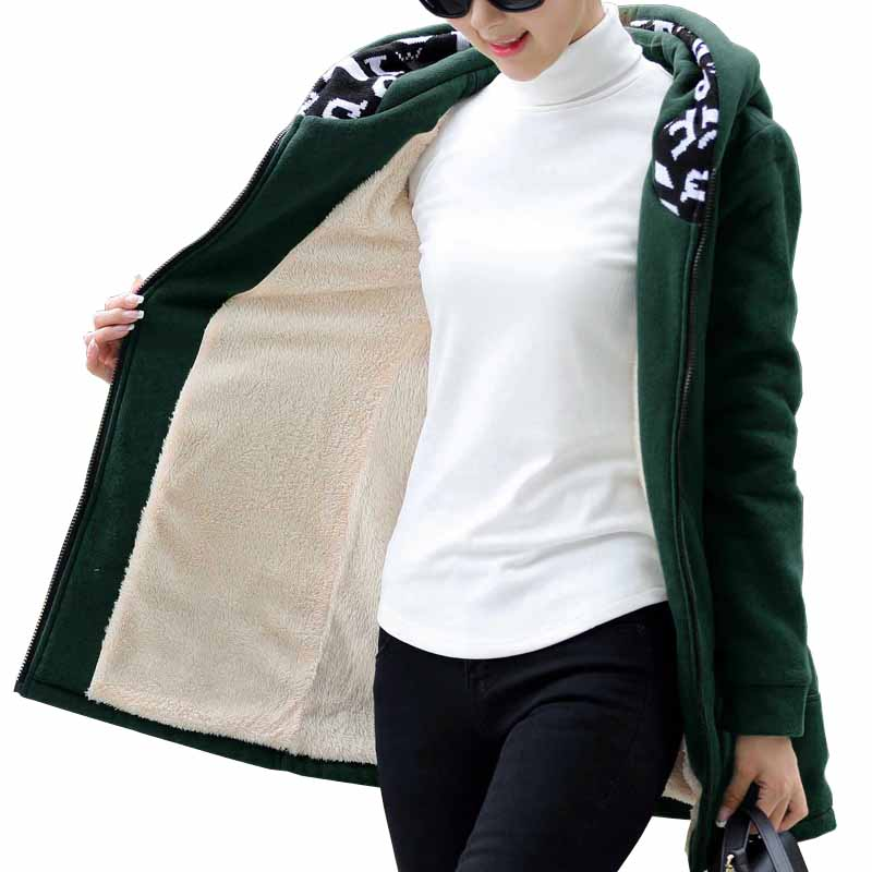 2019 Plus size 4XL Autumn Winter Parkas Flocking Sweatshirts Women Thicken Casual Hoodies Jacket Female Loose
