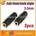 2 шт. 3.5 мм аудио адаптер женский женский Наушники стерео удлинитель Бесплатная доставка