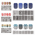 5Pcs/set BORN PRETTY Rectangle Stamping Template 12*6cm Manicure Nail Art Image Plate L046-050