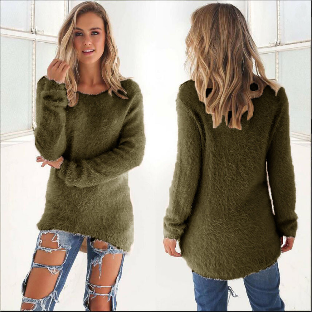 Loose Temperamental Daily Sweaters Easy to match color Casual Solid Long Sleeve Jumper Sweaters Blouse Womens pull femme Cloth