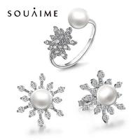 YKIN Ladies Fashion Jewelery Set Natural Pearl Snowflake Set Pearl Ring Pearl Earrings 925 Sterling