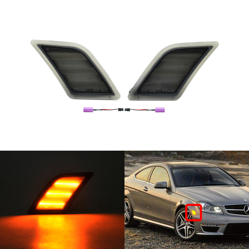 Direct Fits For Benz W204 US C-Class CANbus Amber Led Side Marker Turn Signal Lights Lamp C300 C350 C63 AMG SL65 AMG