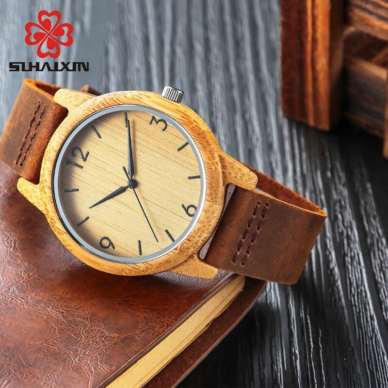 80a70ae1502 Hot Venda Relógio De Madeira De Bambu Caso pulseira de Couro Genuíno Para  Mulheres Dos Homens