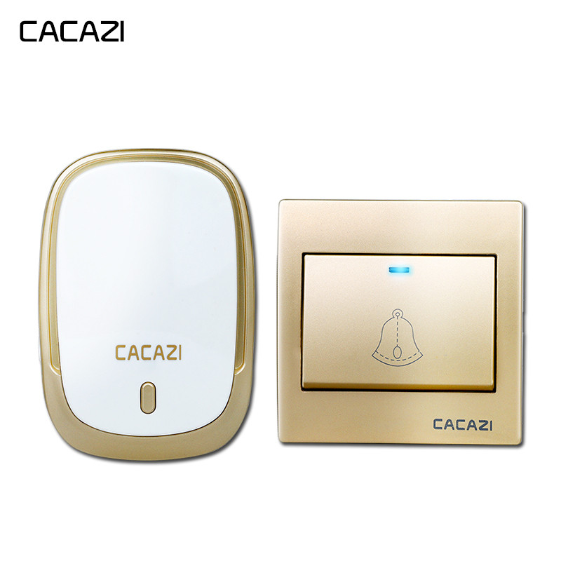 CACAZI Smart Wireless Waterproof Doorbell 300M Remote Battery Button LED Light Home Cordless Bell 36 Chimes 4 Volume EU Plug