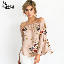 2017 European Style Floral Slash Neck Off Shoulder Top Blouse Cold Shoulder Tops Bell Sleeve Mori Chiffon Blouse Feminine Shirts