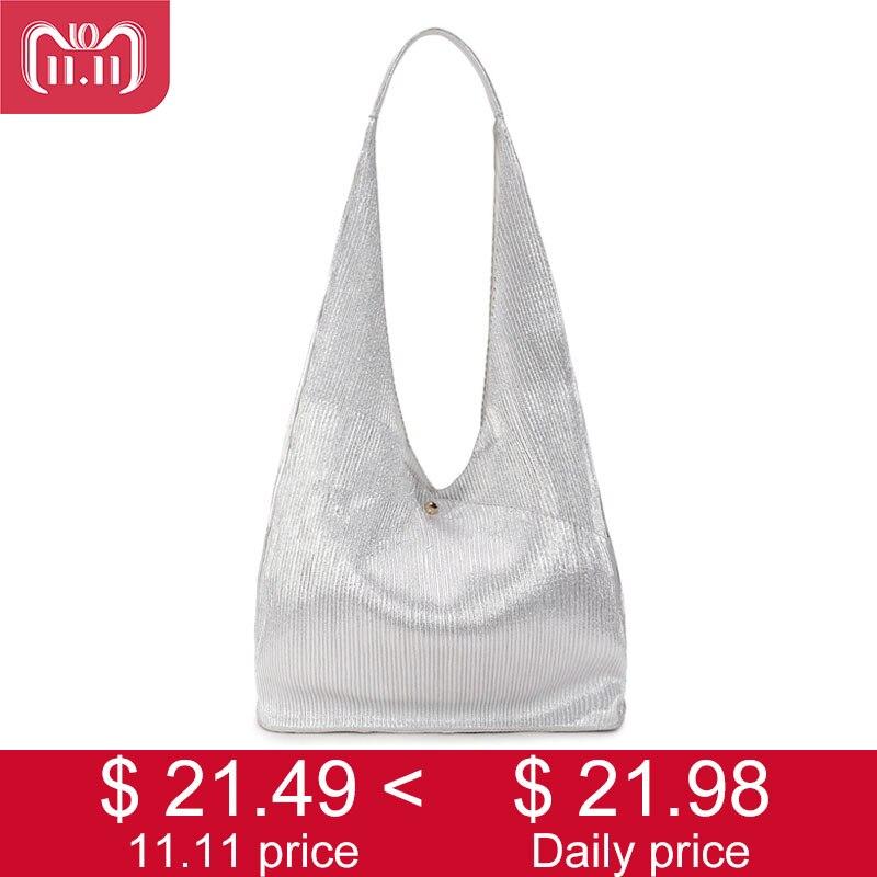 012fa947192 Silver Hobo Women Bag Fashion Leather Big Shoulder Bags Female Large  Handbag Ladies Tote Hand Bags