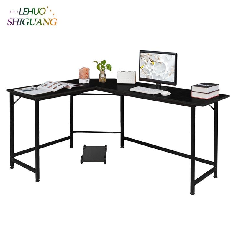 Black L Shaped Desktop Computer Desk Office furniture